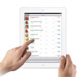 Ipad blanco con pantalla de toma de pedidos en un catálogo digital