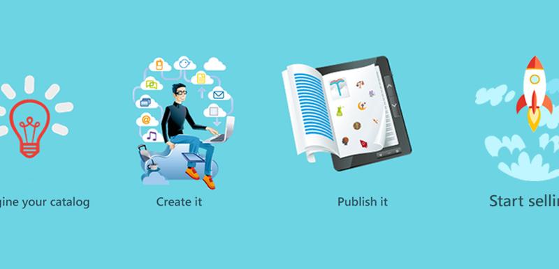 idea processo de creación e imagen de un catálogo digital para tablet