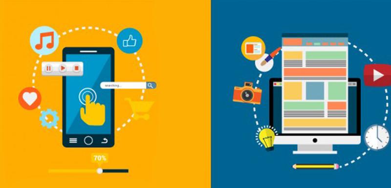 Imagen vectorial. Iphone y PC con iconos de apps