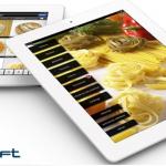 Ipads con pantallas de catálogo digital para ventas para el sector alimentación y logotipo farandsoft y olivia consulting