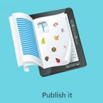 Tablet con hojas de papel como catálogo digital